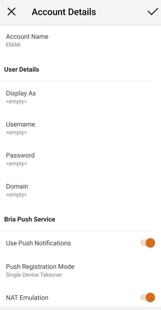 Configuration de l'application mobile Bria 3